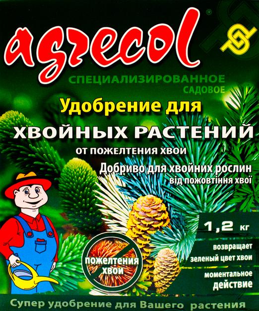 Удобрение Agrecol для хвойных растений, от пожелтения хвои, 1,2 кг